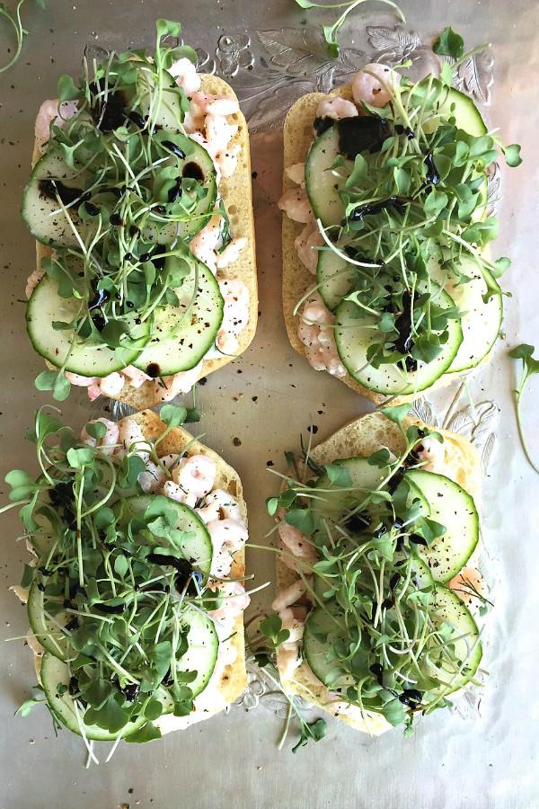 Shrimp Cucumber Salad Toasts | ReluctantEntertainer.com
