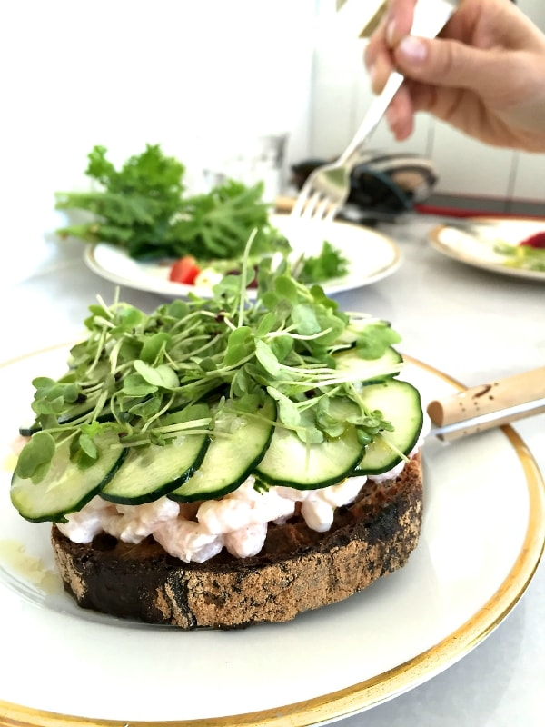 MÅURICE: A Pastry Luncheonette with Shrimp Cucumber Salad Toasts