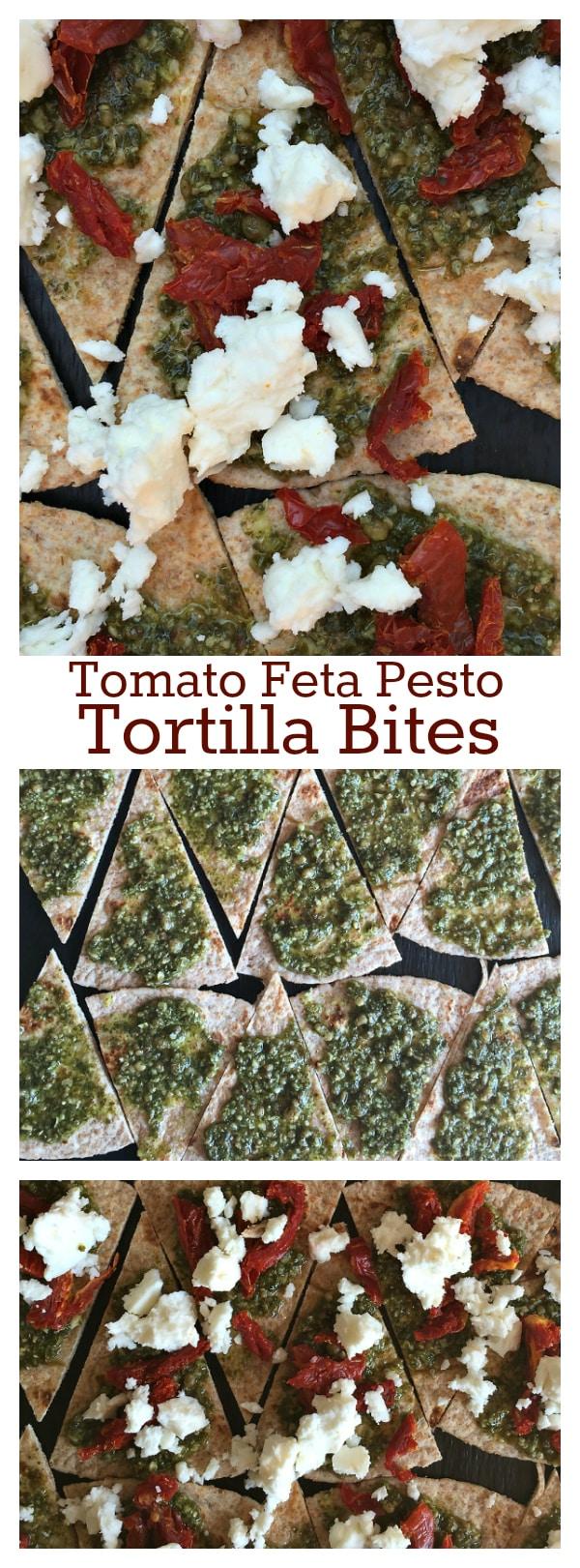 Tomato Feta Pesto Tortilla Bites - easy appetizer recipe