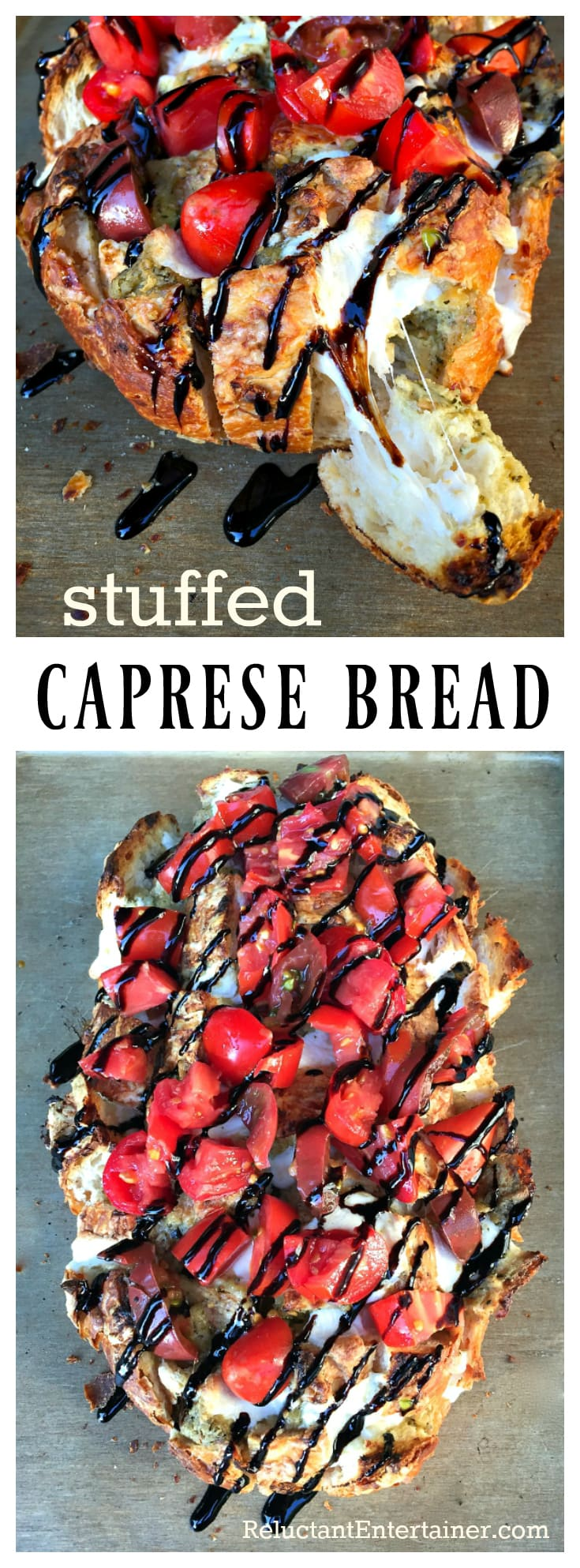 Stuffed Caprese Bread, a fun party food, appetizer, or tailgating appetizer with mozzarella cheese and fresh tomatoes.