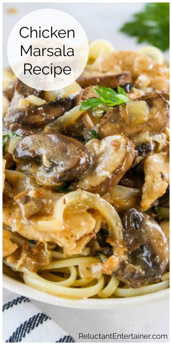 close up chicken marsala with mushrooms