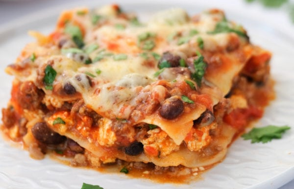 Skillet Mexican Lasagna with black beans