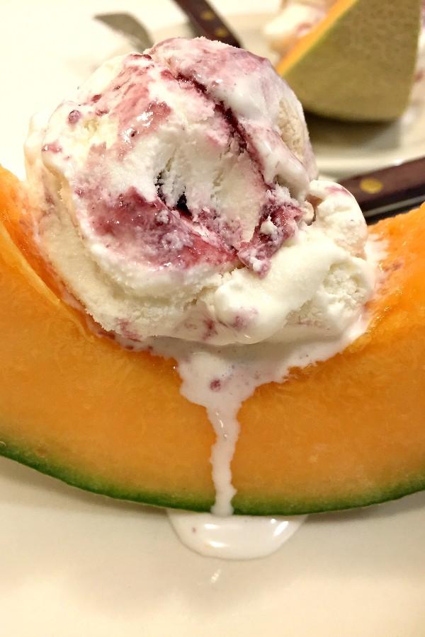 Cantaloupe Ice Cream Dessert | ReluctantEntertainer.com