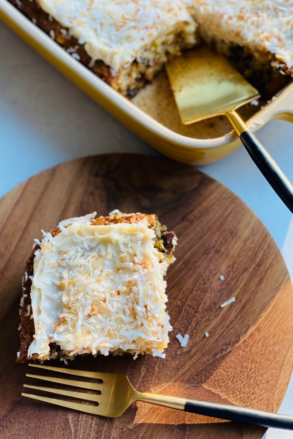 square piece of pineapple cake with cream cheese frosting