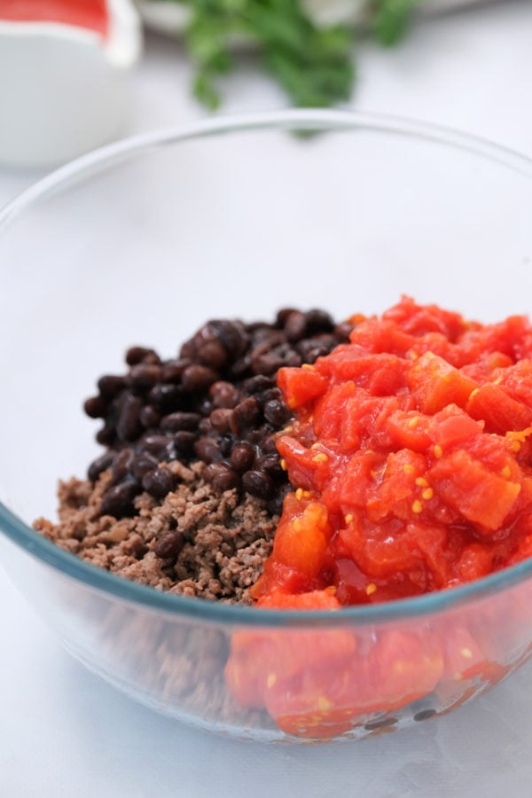 beans, tomatoes and ground beef