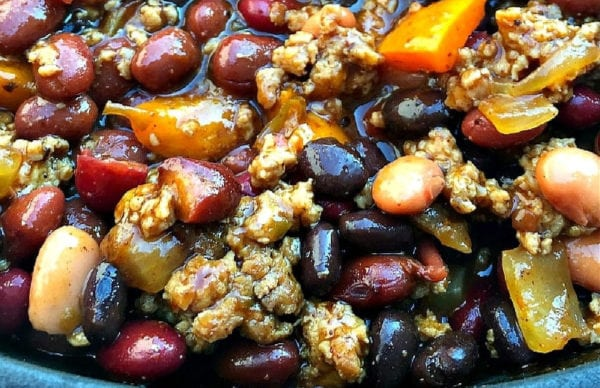 crock pot beans with ground turkey and bacon