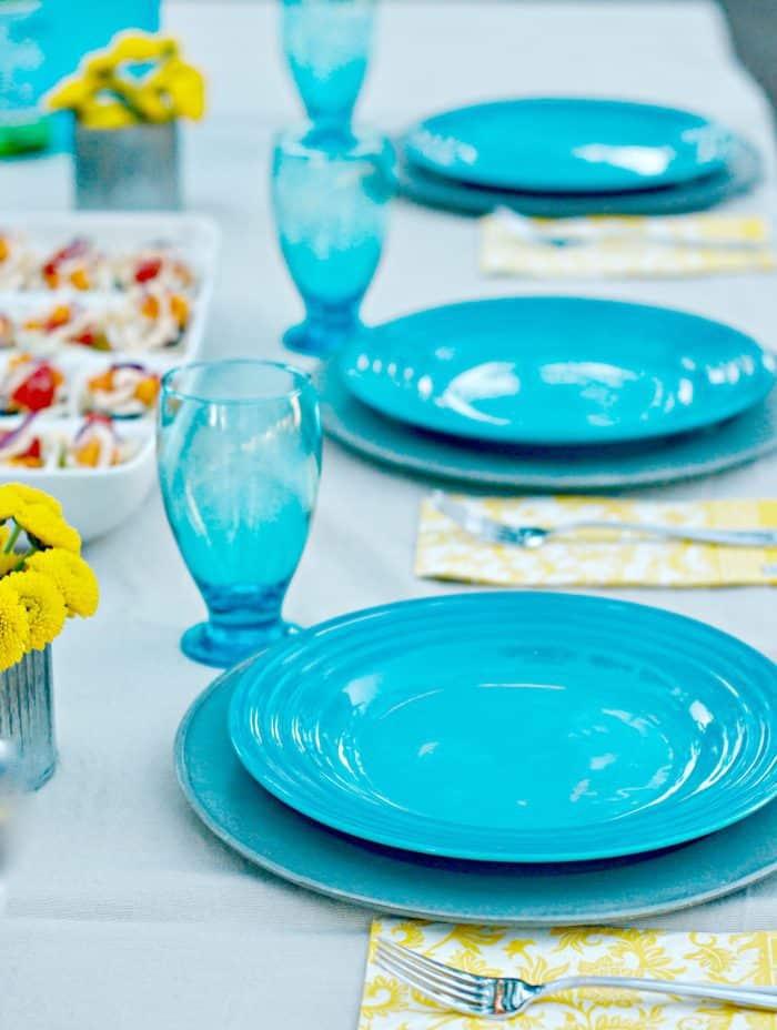 Mini Chicken Taco Boats and Jalapeño Greek Yogurt Dip - set the table
