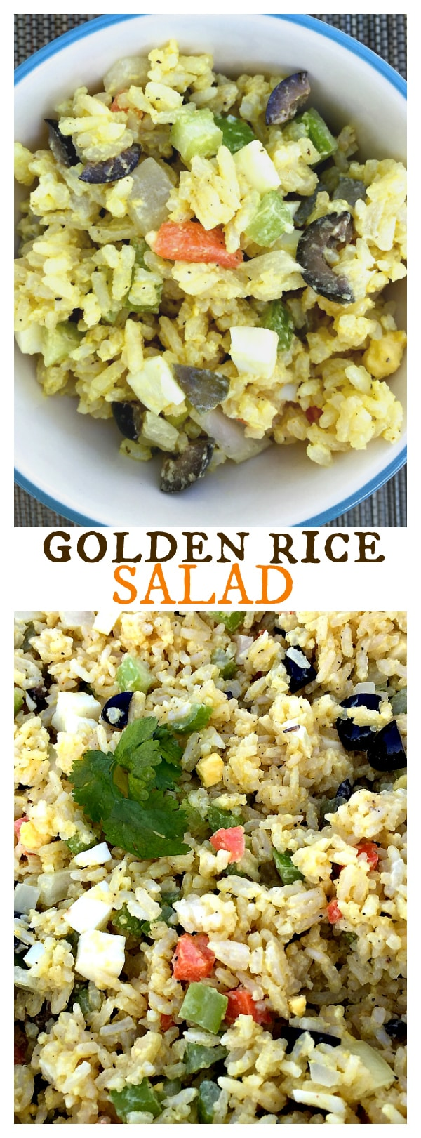 Golden Rice Salad - delicious side or potluck salad with potato salad flavors!