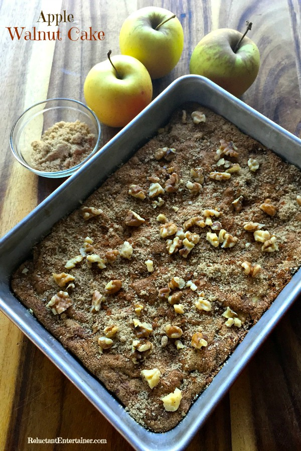 Being Grateful and Generous with Apple Walnut Cake ... opening our homes--with yummy smells, warm fires, cozy blankets, good drinks, delicious food—to share, open our hearts, and be thankful for the generosity of others. ReluctantEntertainer.com