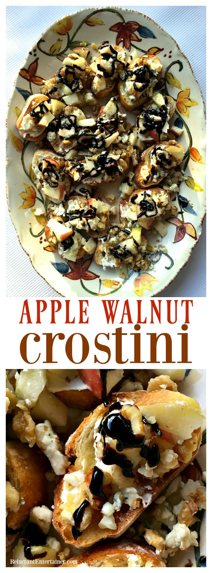 Apple Walnut Crostini appetizer, made with delicious Honey Crisp apples and gorgonzala cheese.