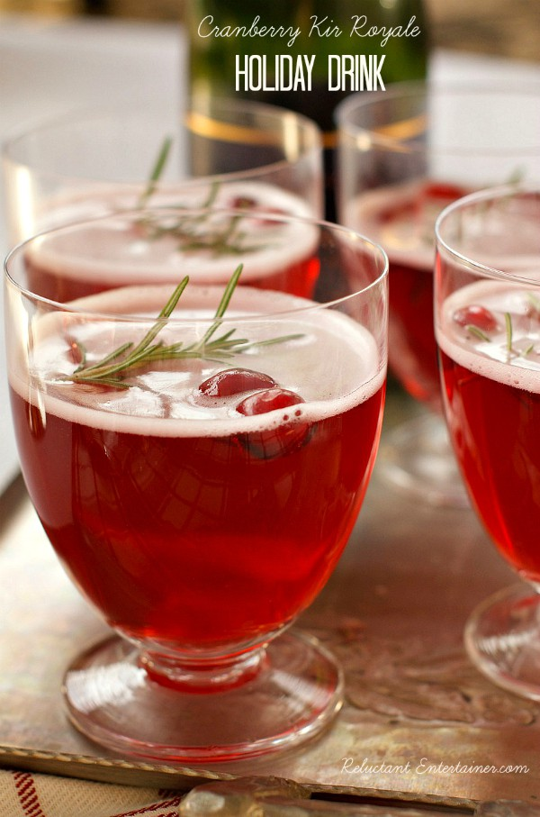 Cranberry Kir Royale holiday drink
