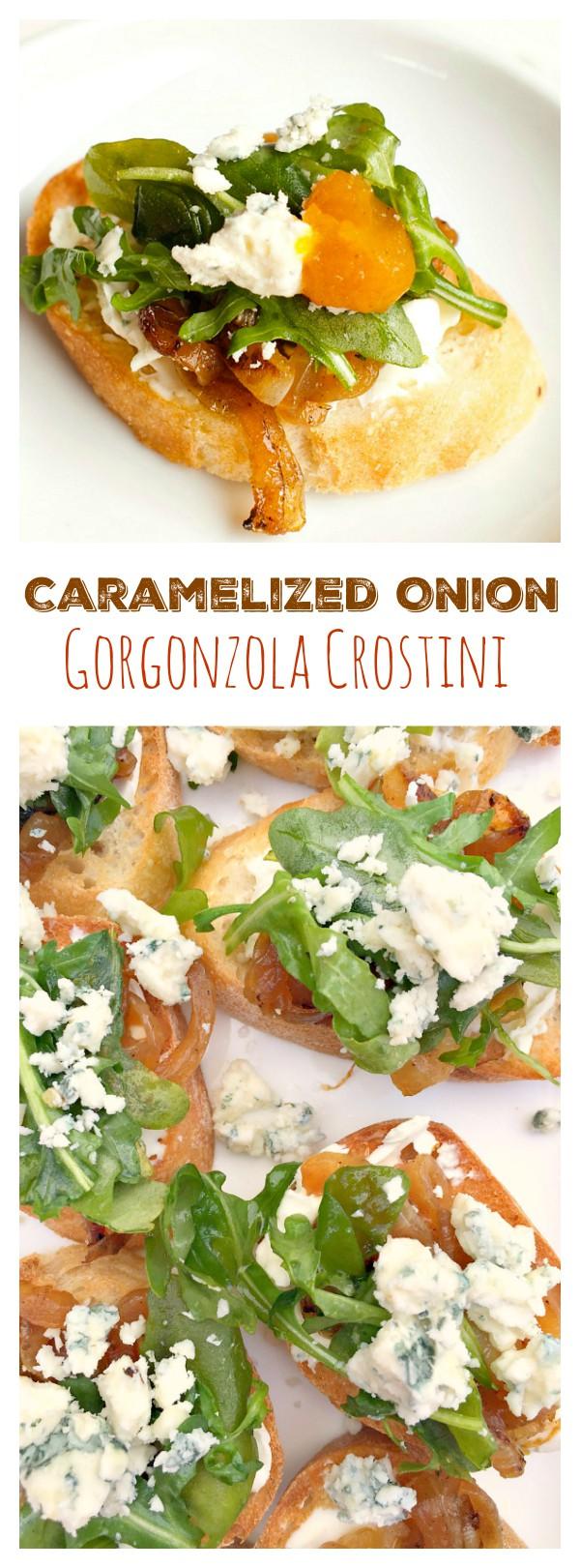 Caramelized Onion Gorgonzola Crostini