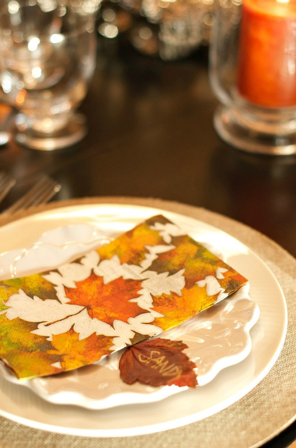 Pressing Leaves for Thanksgiving Place Cards
