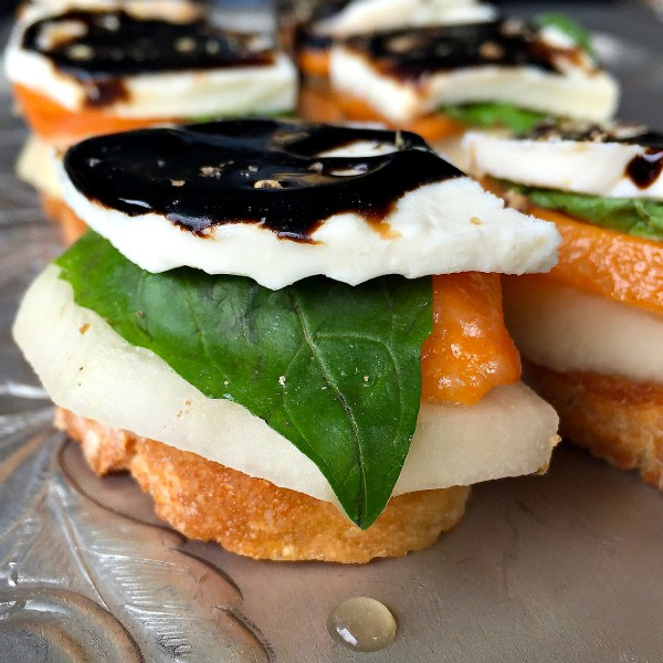 Persimmon Pear Caprese Crostini