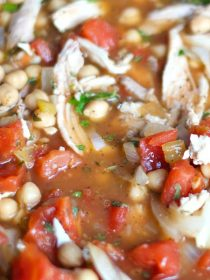 This Citrus Chicken Garbanzo Chili is great to serve at a casual gathering or a holiday chili party!