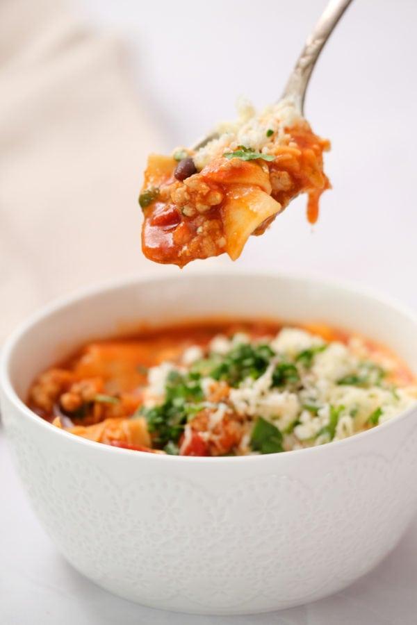 spoonful of 30-minute Turkey Lasagna Soup