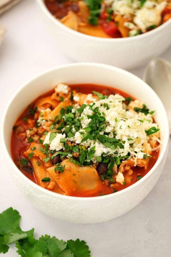 white bowl lasagna soup