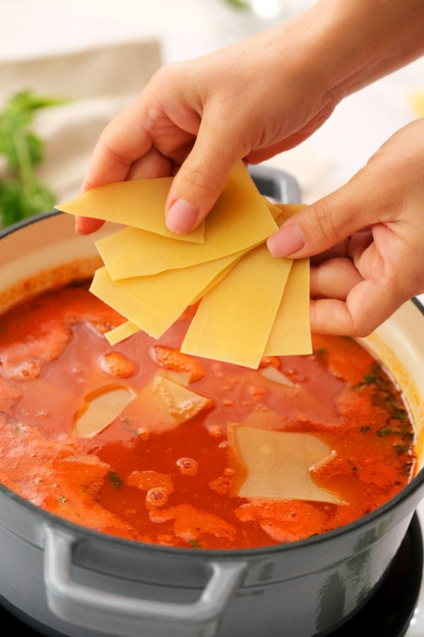 adding in raw lasagna noodles to soup