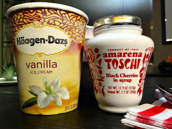 Amarena Toschi Black Cherries Vanilla Ice Cream