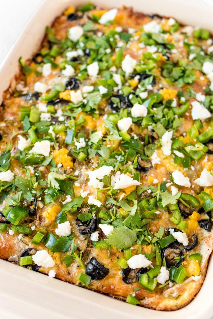 Easy Green Chili Corn Tortilla Strata