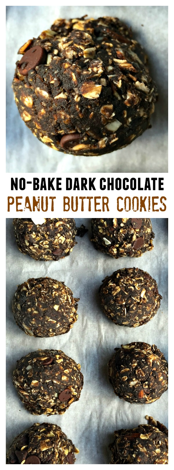 No-Bake Dark Chocolate Peanut Butter Cookies