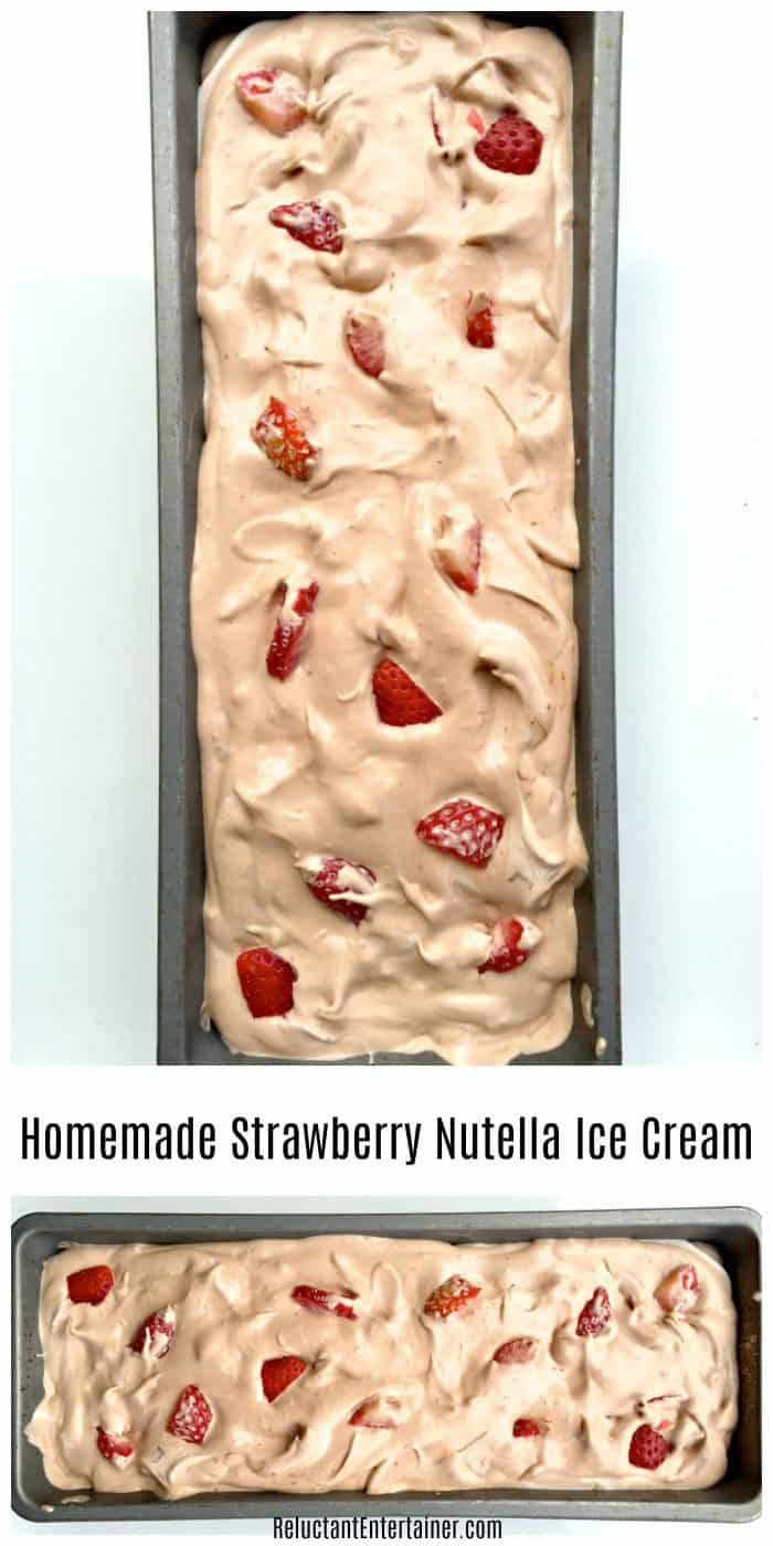 BEST Homemade Strawberry Nutella Ice Cream