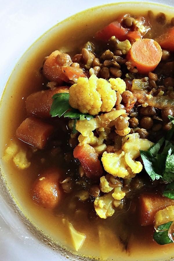 winter bowl of Moroccan Lentil Cauliflower Soup