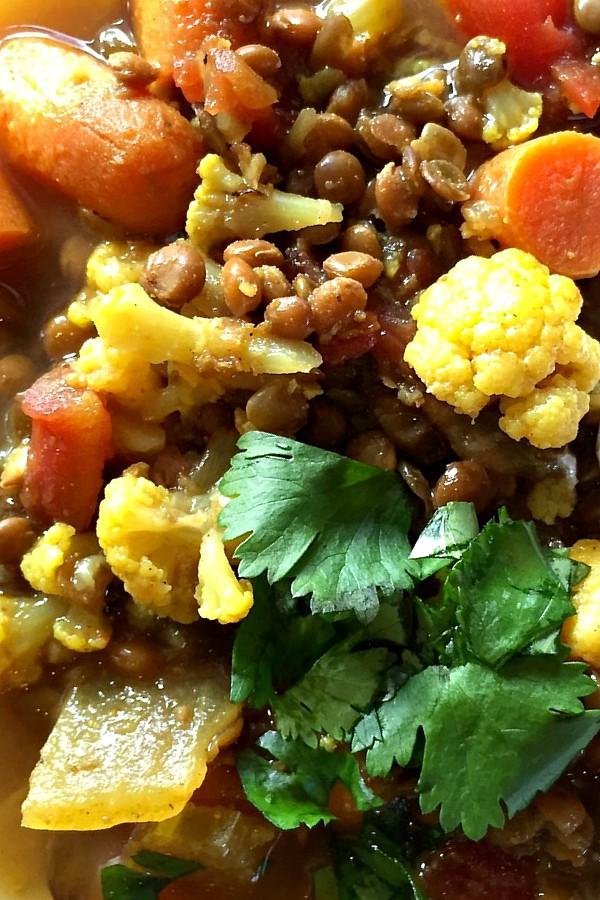 Moroccan Lentil Cauliflower Soup with cilantro
