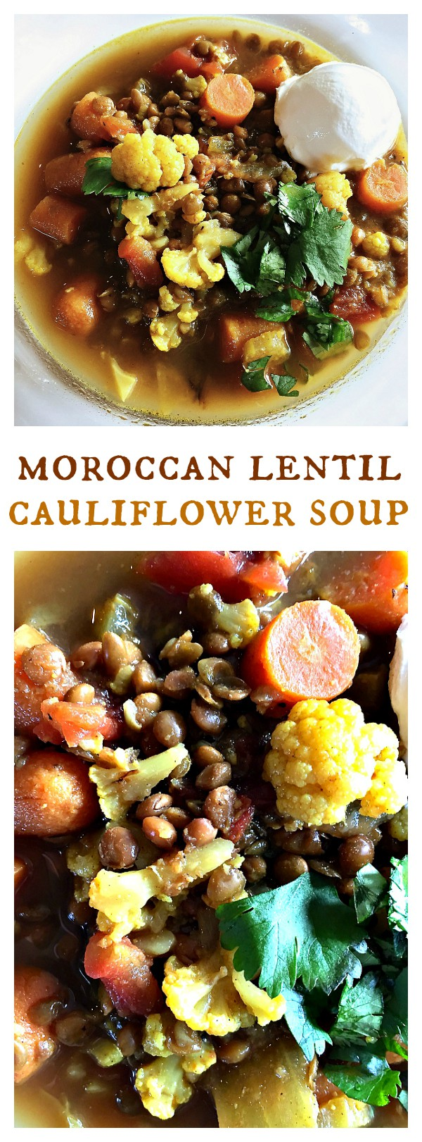 This Moroccan Lentil Cauliflower Soup is a delicious winter Vegetarian soup to serve for lunch or dinner!