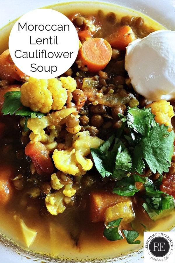 a bowl of Moroccan Lentil Cauliflower Soup