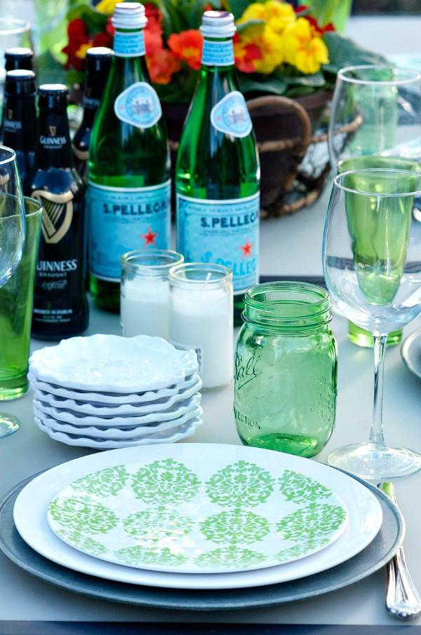 St. Patrick's Day Menu - mason jar glasses