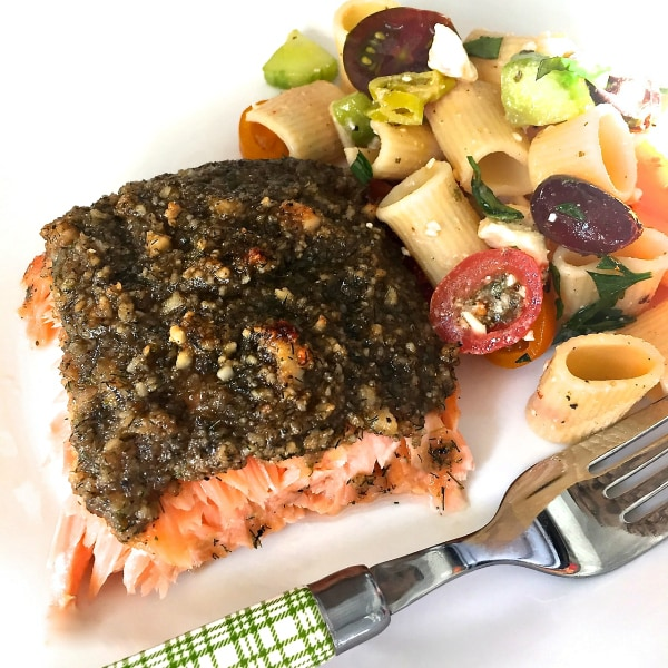 Greek Pasta Salad with salmon