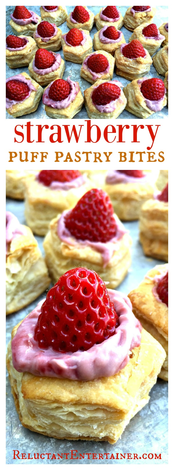 Strawberry Puff Pastry Bites for springtime or summer entertaining; perfect for Mother's Day!