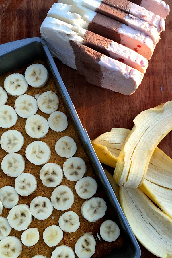 Banana Split Dessert ingredients, with slices of ice cream and sliced bananas