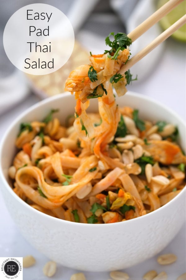 taking a bite of Easy Pad Thai Salad with chopsticks