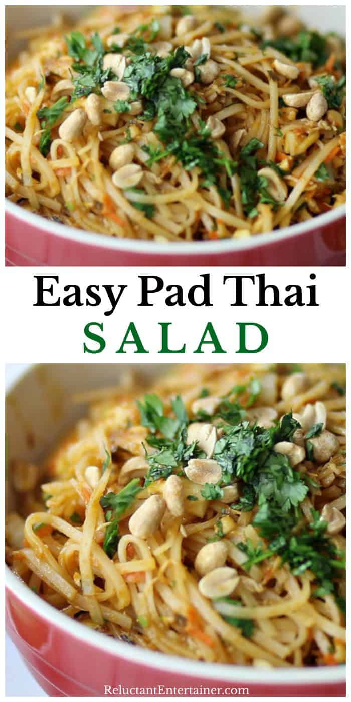 Bowl of Easy Pad Thai Salad with peanuts and cilantro