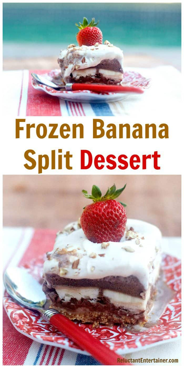 Make-ahead Frozen Banana Split Dessert Recipe plated on a red plate with red spoon
