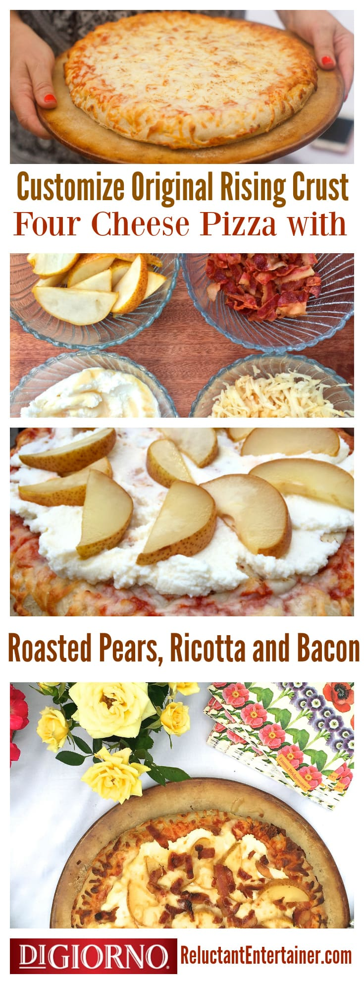 Today I'm sharing how to customize your own DIGIORNO pizza for a weekend gathering, with ricotta and pears, for a Roasted Pear Ricotta Pizza!