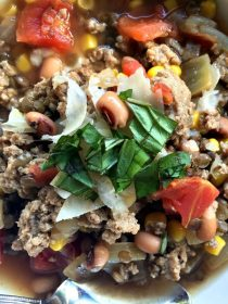 Pantry Vegetable Beef Soup is a simple weeknight meal, easy to make with ingredients stocked in the pantry; add ground beef or turkey and serve - at ReluctantEntertainer.com
