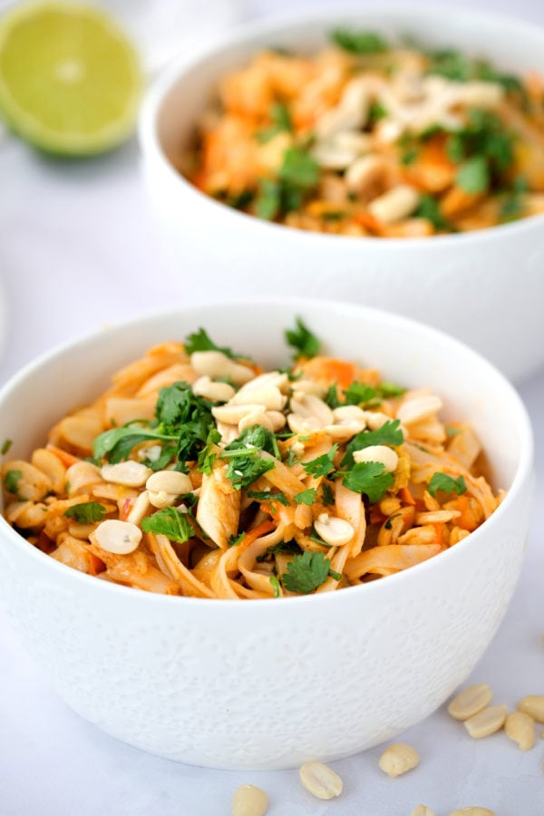 bowl of Easy Pad Thai Salad with peanuts