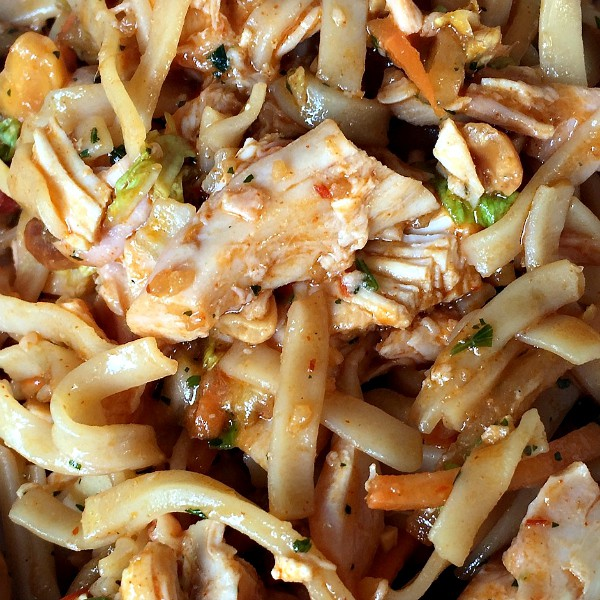 Up close Spicy Easy Pad Thai Salad with chicken