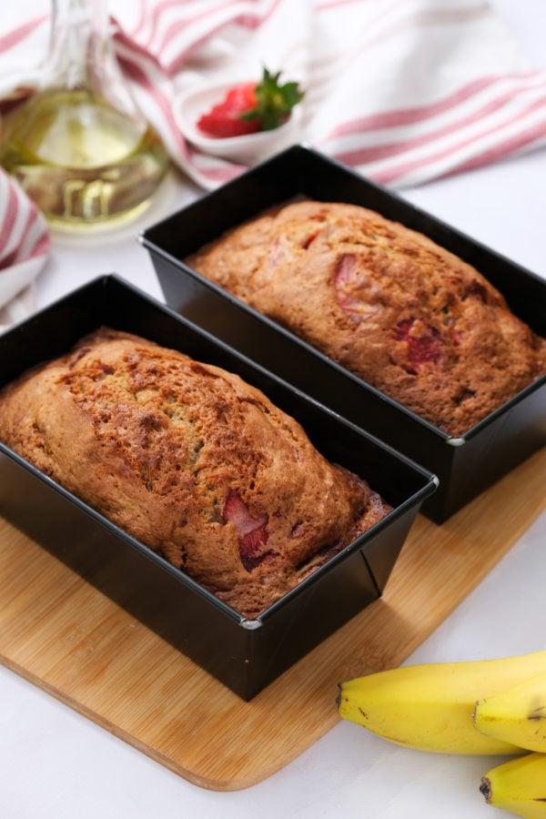 2 loaves of strawberry banana bread