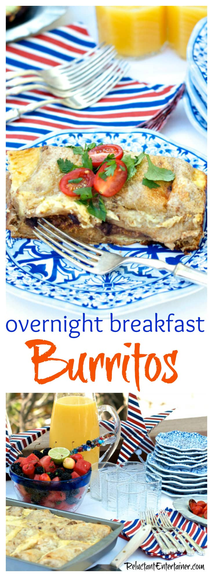 Overnight Breakfast Burritos made with black beans, eggs, peppers, onions, and cheese for your next breakfast, brunch, or holiday party!