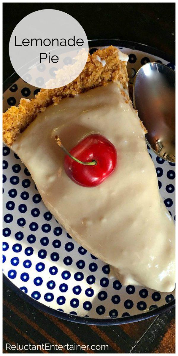 a slice of lemonade pie with graham cracker crust