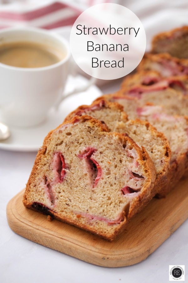 slices of strawberry banana bread with a cup of coffee
