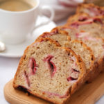 slices of banana bread with strawberries