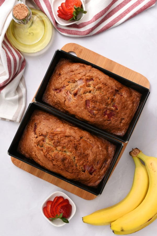 2 smal loaves in pans of strawberry banana bread