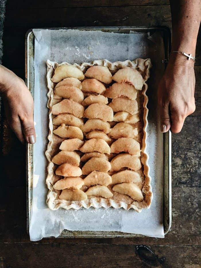 fresh peach tart with cinnamon