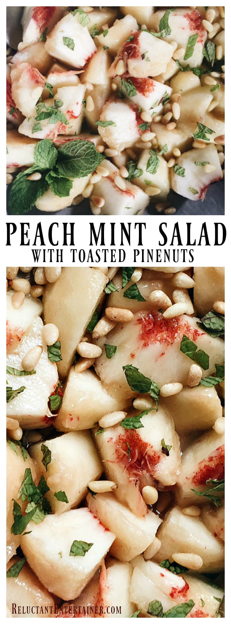 Peach Mint Salad with Toasted Pinenuts is an elegant summer salad to served, garnished with fresh mint.