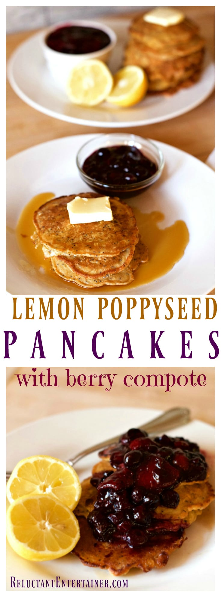 Lemon Poppyseed Pancakes with Berry Compote, the perfect breakfast for out-of-town company, made with frozen berries!